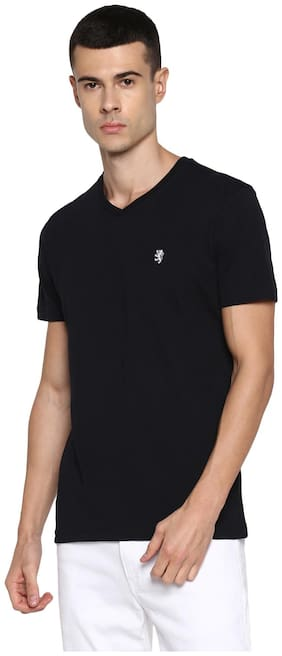 Men V Neck Solid T-Shirt