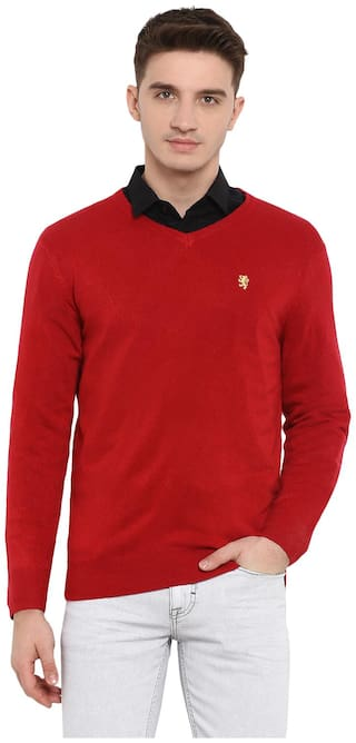 Red Tape Men Acrylic Longline Sweater Red