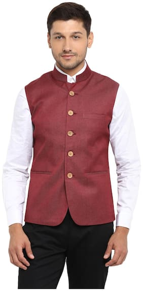 Men Solid Blended Ethnic Jacket