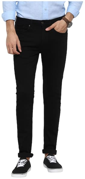Red Tape Men Rinse Black Skinny Fit Solid Casual Jeans