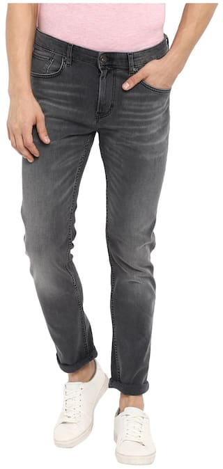Red Tape Men Grey Slim Fit Solid Casual Jeans