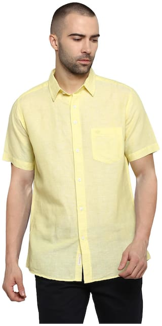 Red Tape Men Yellow Solid Regular Fit Casual Shirt