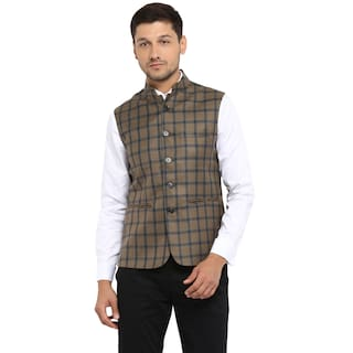 Red Tape Men's Khaki Check Casual Nehru Jacket