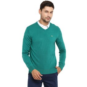 Red Tape Men Acrylic Sweater - Green