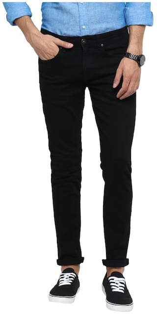 Red Tape Men Rinse Black Slim Fit Solid Casual Jeans