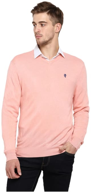 Red Tape Men Acrylic Pink Sweater