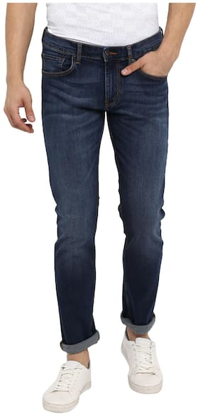 Red Tape Men Mid Blue Slim Fit Solid Casual Jeans