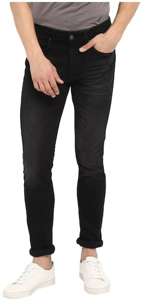 Red Tape Men Black Used Skinny Fit Solid Casual Jeans