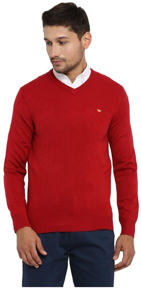 Red Tape Men Acrylic Sweater - Red