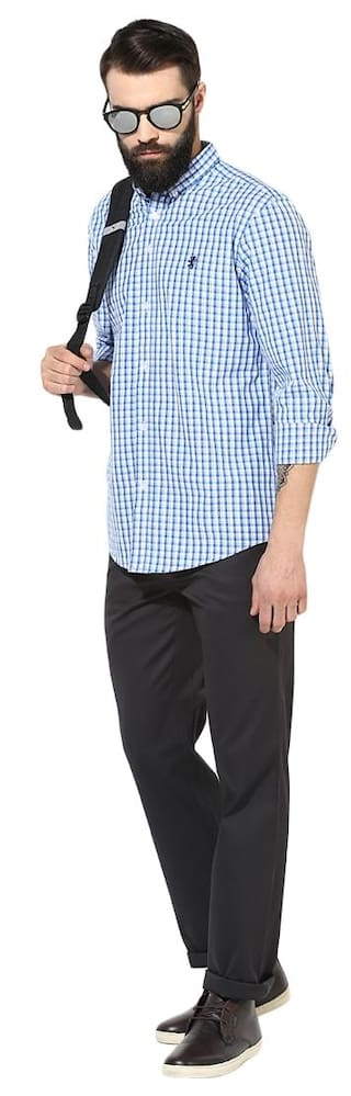 Red Shirts Tape Casual Checkered Men Blue UUI6x1uJPS