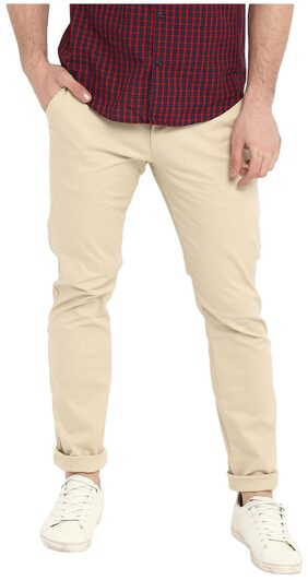 Red Tape Men's Beige Slim Fit Solid Casual Trouser