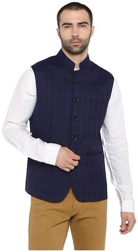 Men Checked Blended Ethnic Jacket