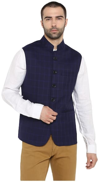 Red Tape Men Blue Checked Regular Fit Ethnic Jacket