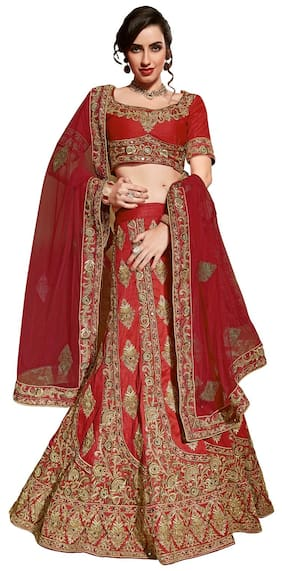 Aasvaa Silk Printed A-line Lehenga Choli - Red