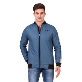 Red Vee Men Blue Solid Bomber jacket