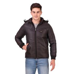 Red Vee Men Black Solid Bomber jacket