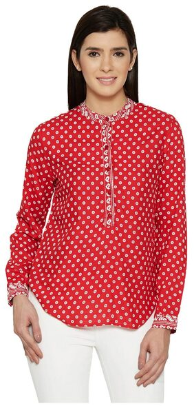 Red Y-Neck Tunic