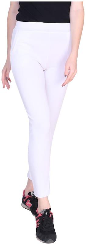 REDAMANCII Women White Slim fit Jegging