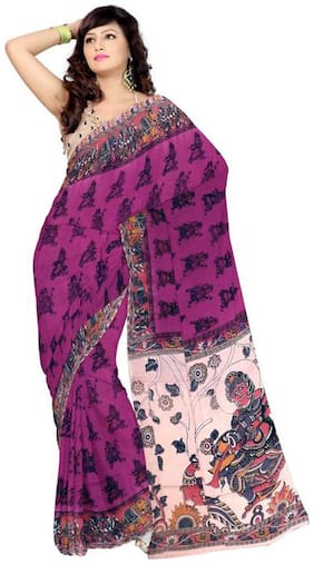 RedBrickShop Women's Kalamkari Plain Elephant Man Mauve;Red Cotton Saree