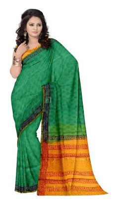 RedBrickShop Women's Chanderi Floral Green-Brown-Mustard Saree