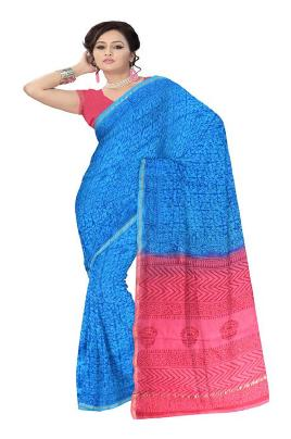 RedBrickShop Women's Chanderi Leaf Blue;Pink Silk Cotton Saree