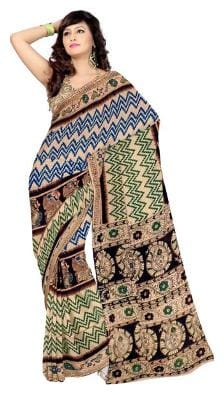 RedBrickShop Women's Kalamkari Zigzag Bird Cream;Green;Blue Cotton Saree