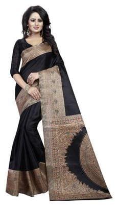 Refof Export Silk Bhagalpuri Tie & dye work Saree - Black , With blouse