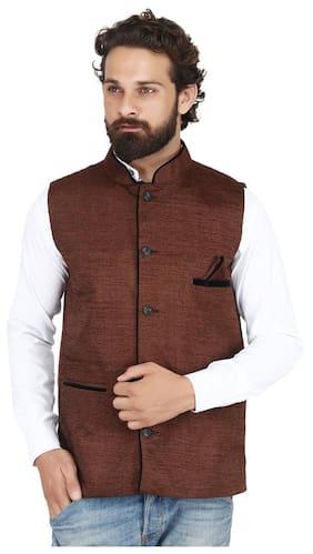 PSK Men Regular Fit Velvet Sleeveless Solid Ethnic Jackets - Brown