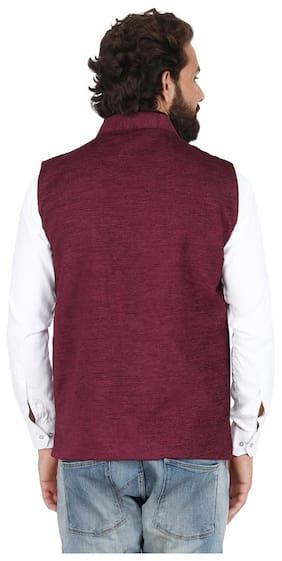 PSK Men Regular Fit Velvet Sleeveless Solid Ethnic Jackets - Maroon