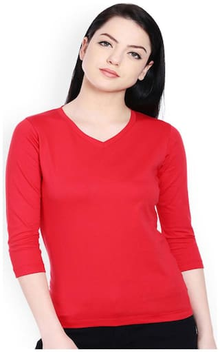 Sundish Women Printed V neck T shirt - Red