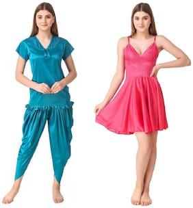 REPOSEY Women Satin Solid Top and Pyjama Set - Assorted