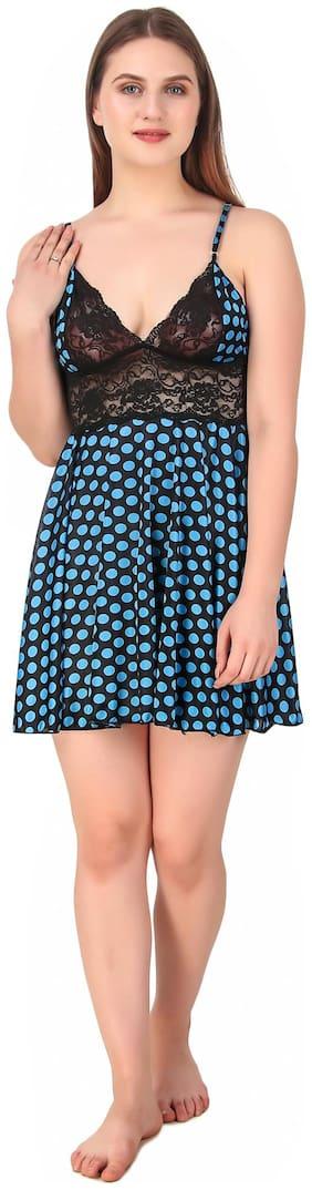 REPOSEY Satin Above Knee Blue Babydoll Dress