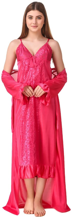 REPOSEY Pink Nighty with Robe
