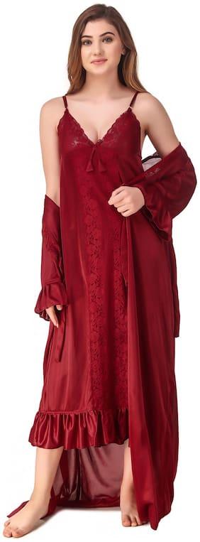 REPOSEY Maroon Nighty with Robe