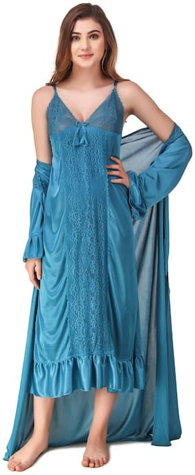 REPOSEY Blue Nighty with Robe
