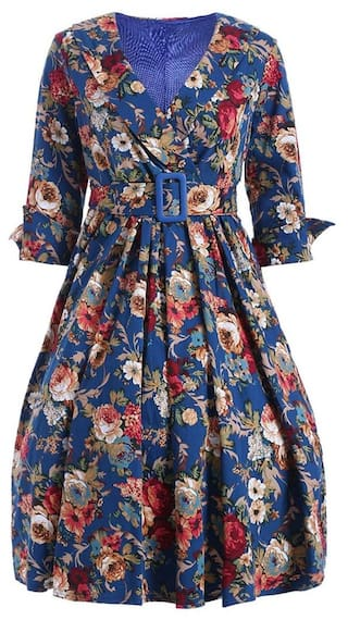 Retro Women Flower Floral Print V Neck Dress