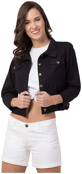 Retrobella Women Solid Denim Jacket - Black