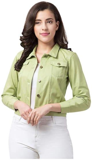Retrobella Women Solid Denim Jacket - Green