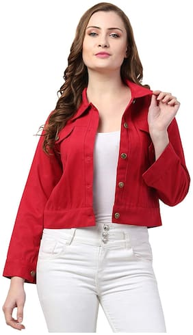 Retrobella Women Solid Denim Jacket - Red