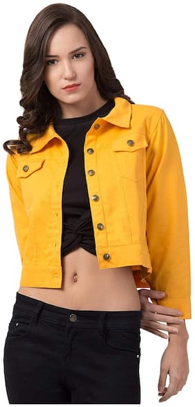 Retrobella Women Solid Denim Jacket - Yellow