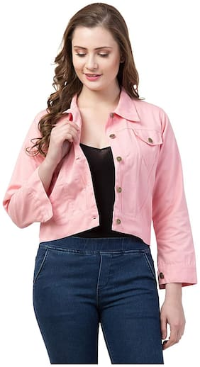 Retrobella Women Solid Denim Jacket - Pink