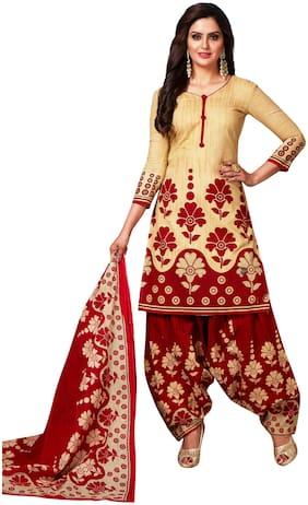 Reya Red Unstitched Kurta with bottom & dupatta With dupatta Dress Material