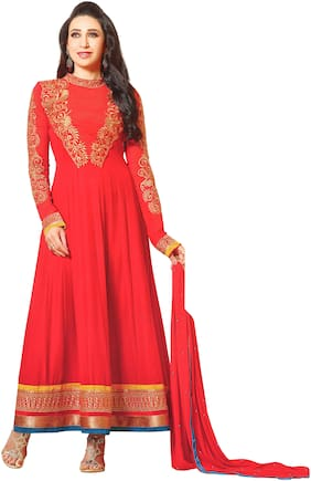 Reya Red Unstitched Kurta with bottom & dupatta With dupatta Dress Material