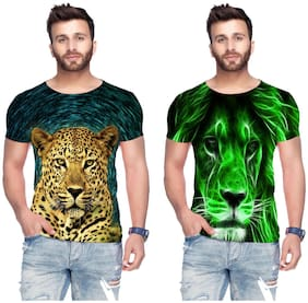 Men Round Neck Graphic Print T-Shirt Pack Of 2