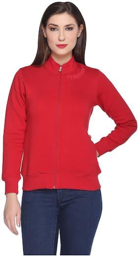 RF RAVES Women Solid Sweatshirt - Red