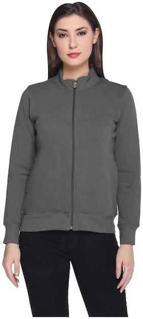 RF RAVES Women Solid Sweatshirt - Grey