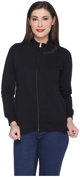 RF RAVES Women Solid Sweatshirt - Black