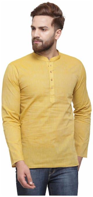 RG Designers Men Yellow Regular Fit Kurta