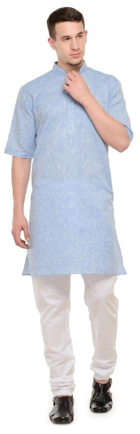 RG Designers Men Regular Fit Cotton Half Sleeves Solid Kurta Pyjama - Blue