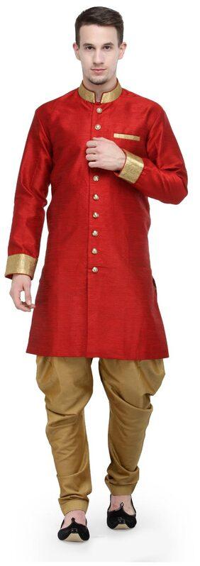 RG Designers Silk Medium Sherwani - Red